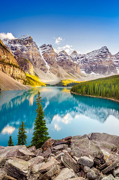 Landscape view of Moraine lake in Canadian Rocky Mountains stock photo