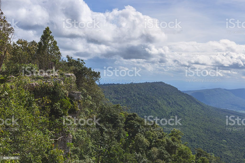 Landscape view of mountain and cliffs with raining clouds brewin stock photo