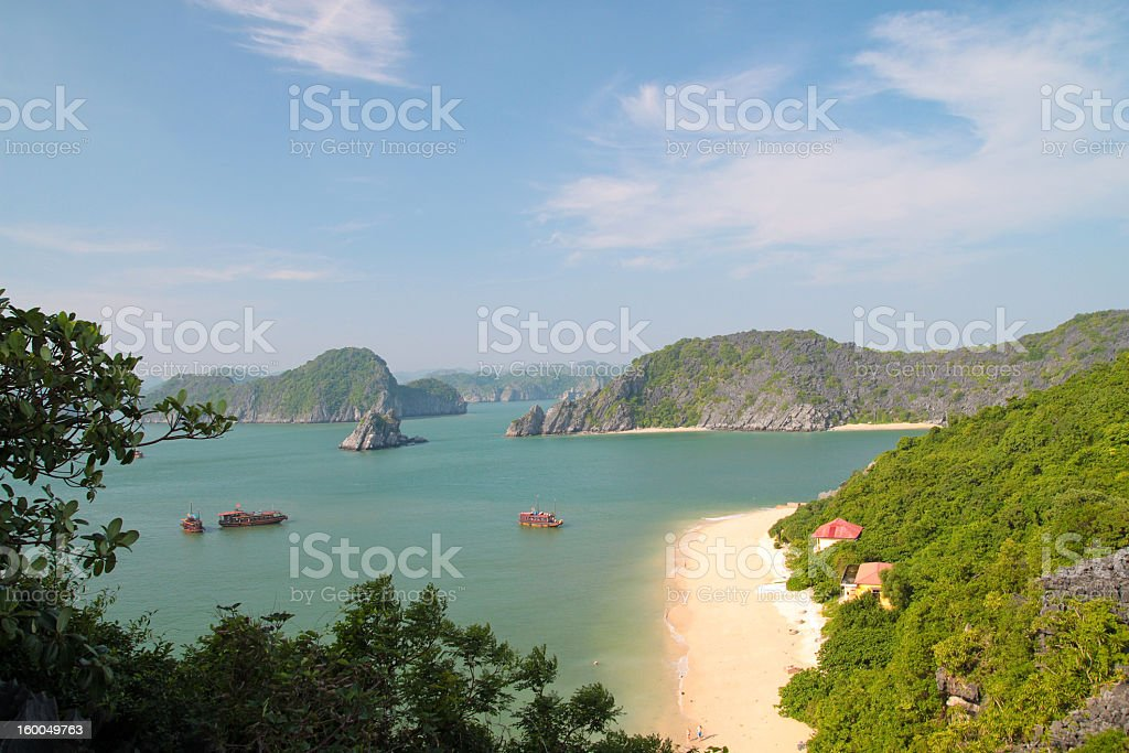Landscape view of mountains in Cat ba Vietnam stock photo