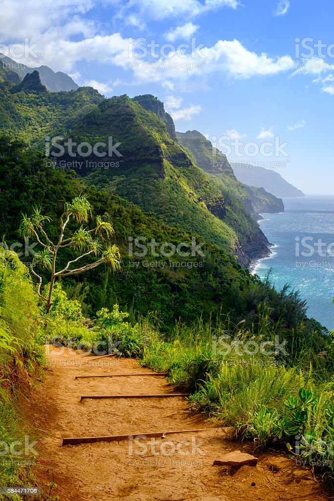 Landscape view of Na Pali coastline and Kalalau trail, Kauai stock photo