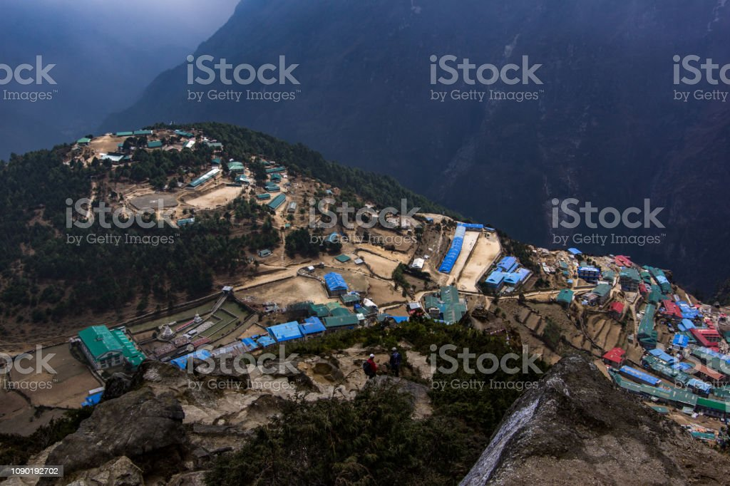 Landscape view of Namche Bazaar. stock photo