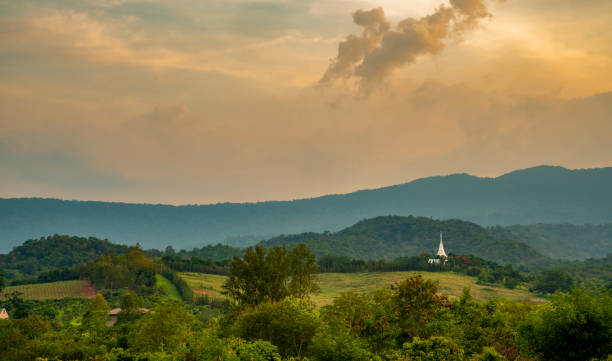 Landscape view of Pak Chong, Thailand at dusk stock photo