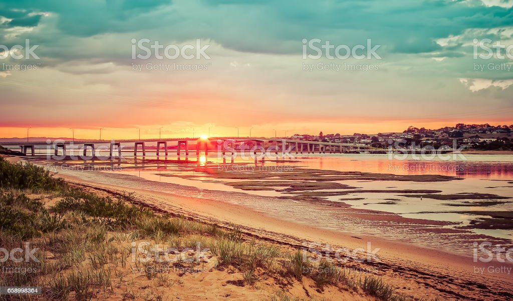 Landscape view of Phillip Island Bridge at sunrise. Victoria, Australia stock photo