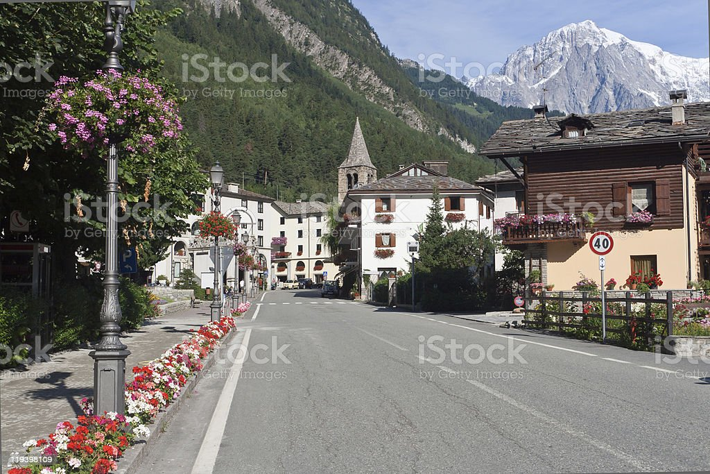Landscape view of Pre-Saint-Didier, Italy stock photo