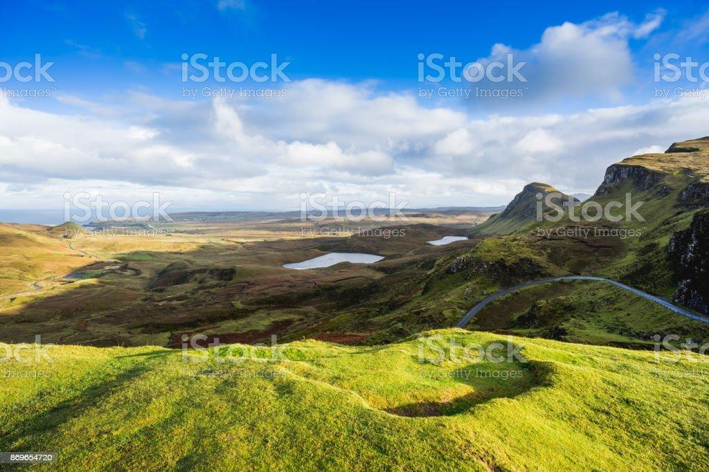 Landscape view of Quiraing mountains on Isle of Skye, Scottish highlands, Scotland, United Kingdom stock photo