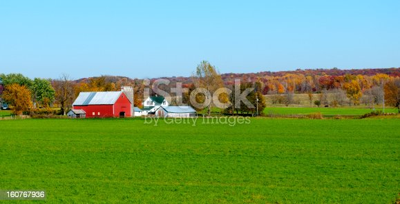 A beautiful farm in the Midwest on a clear Autumn day.