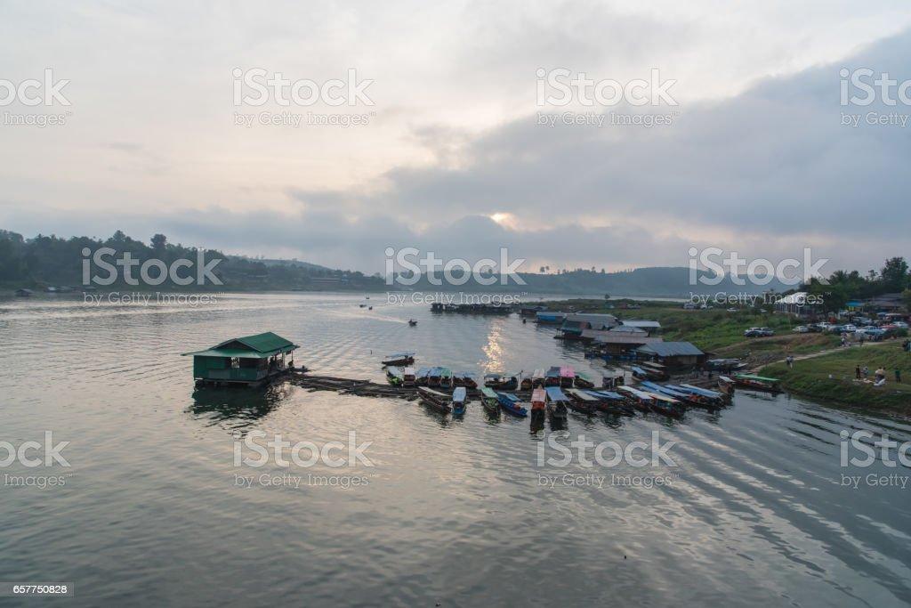 Landscape view of Sagklaburi, Kanchanaburi, Thailand stock photo