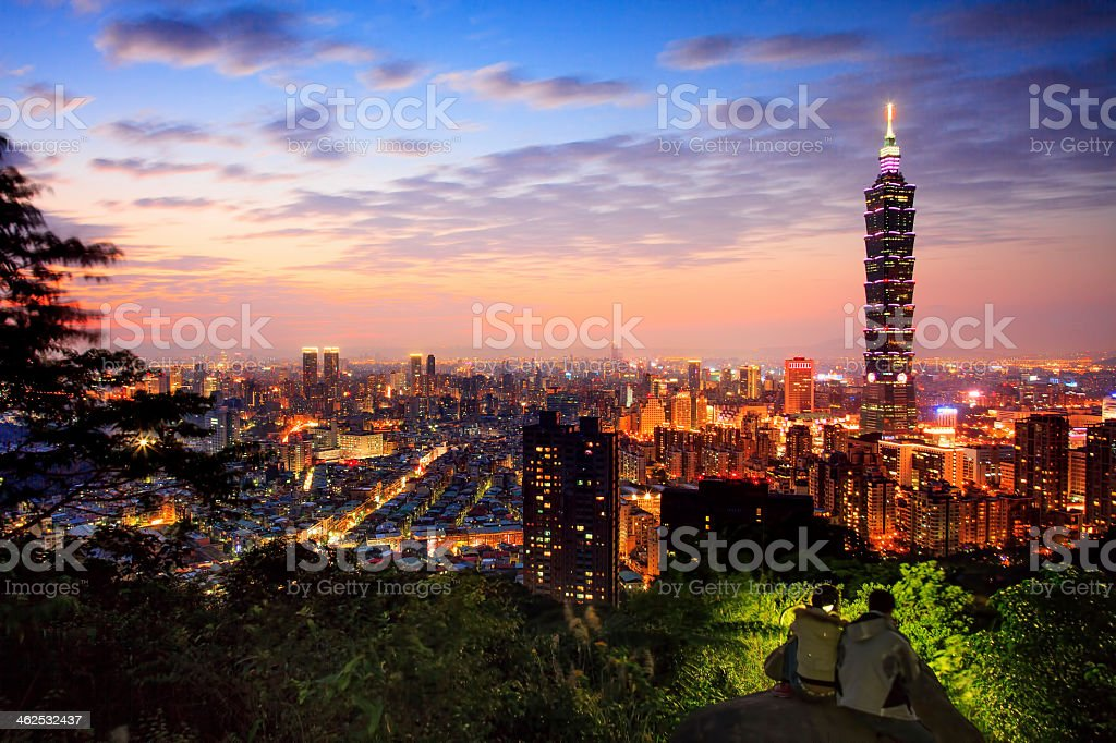 Landscape view of Taipei city at dusk stock photo