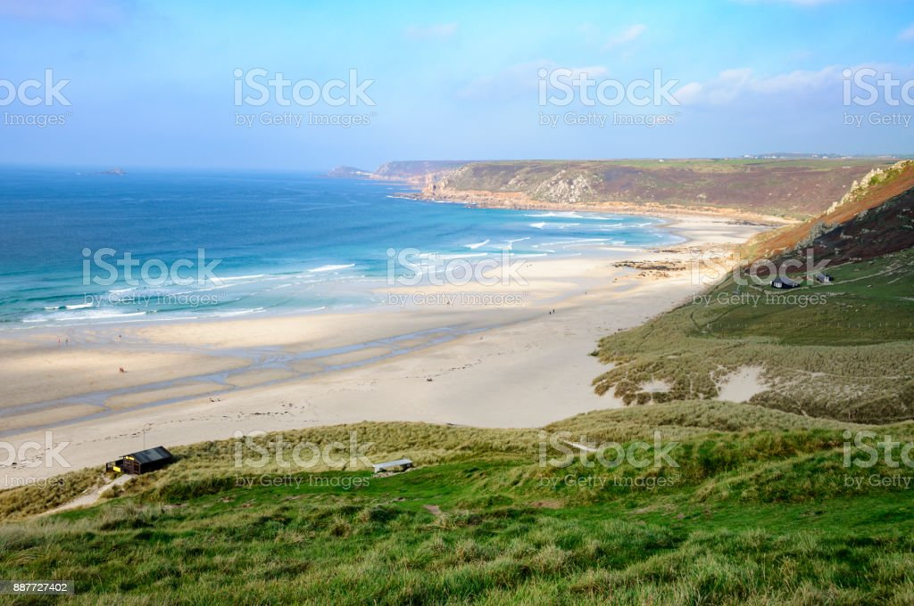 Landscape View Of The Coast In Sennen Cove, Cornwall, England royalty-free stock photo