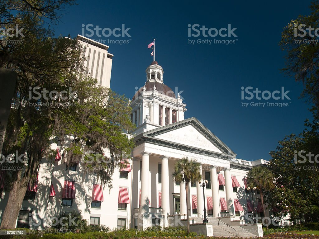 Landscape view of the Florida's Old Capitol Building stock photo