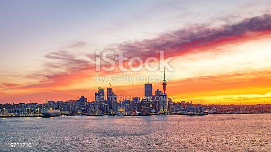 Auckland, New Zealand - December 22 2019: Auckland City New Zealand. Biggest city in New Zealand North Island. New Zealand financial district and business office buildings.