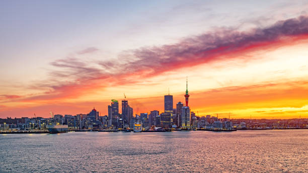 Landscape view of the largest city in New Zealand in Auckland, North Island stock photo
