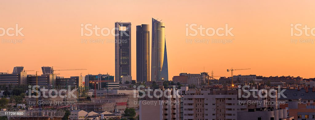 Landscape view of the Madrid city skyline at dusk stock photo