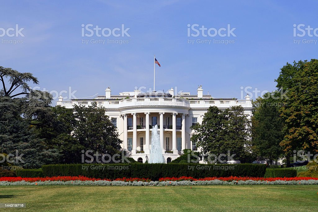 Landscape view of the White House and lawn royalty-free stock photo