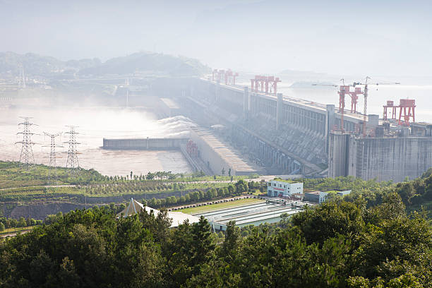 Landscape view of Three Gorges Dam in China stock photo