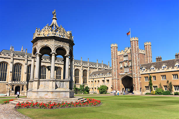 landscape view of trinity college - cambridge university stock photos and pictures