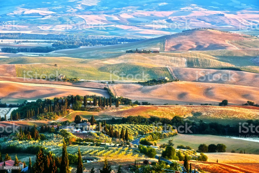 Landscape view of Val d'Orcia, Tuscany, Italy stock photo