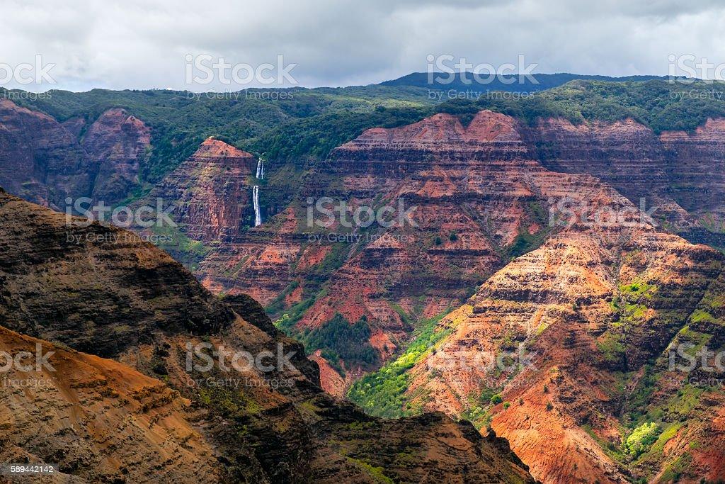 Landscape view of Waimea cayon and Waipoo waterfall, Kauai stock photo