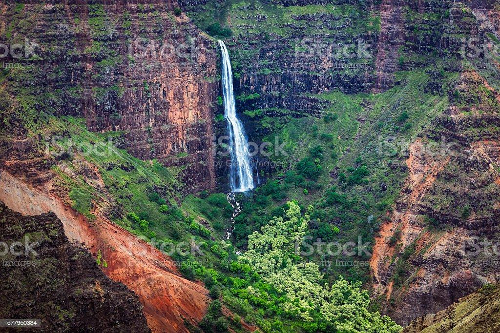 Landscape view of Waipoo waterfall in Waimea canyon, Kauai stock photo