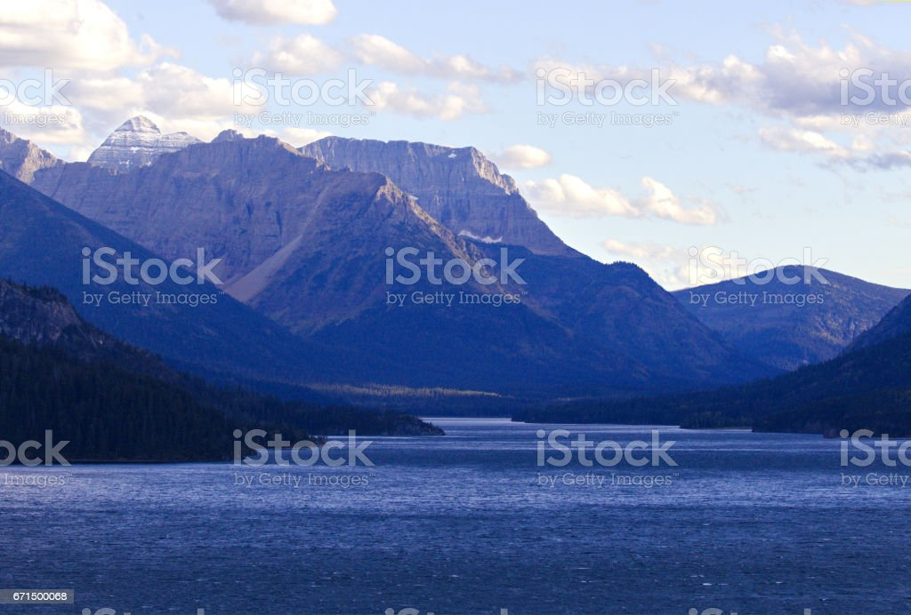 Landscape view of Waterton Lake and Canadian Rockies stock photo
