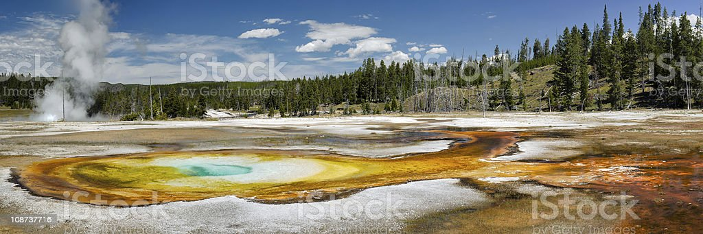 Landscape view of Yellowstone National Park on a sunny day stock photo