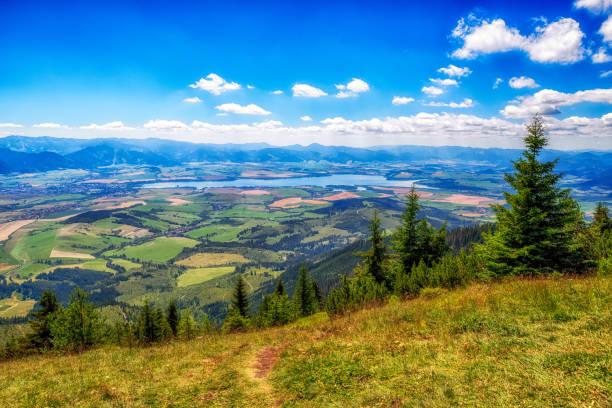 Landscape view on region Liptov and lake Liptovska Mara from hill Babky in Western Tatras stock photo