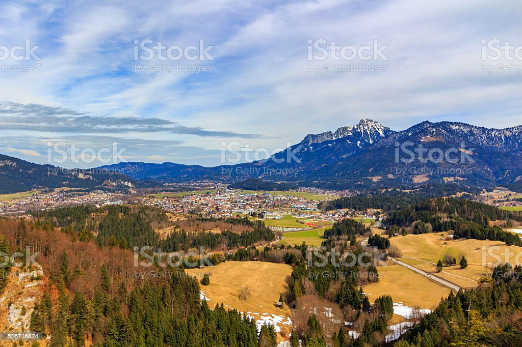 Landscape view to town Reutte in Austria with alps stock photo