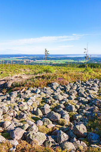 Landscape view with a old hillfort ruin