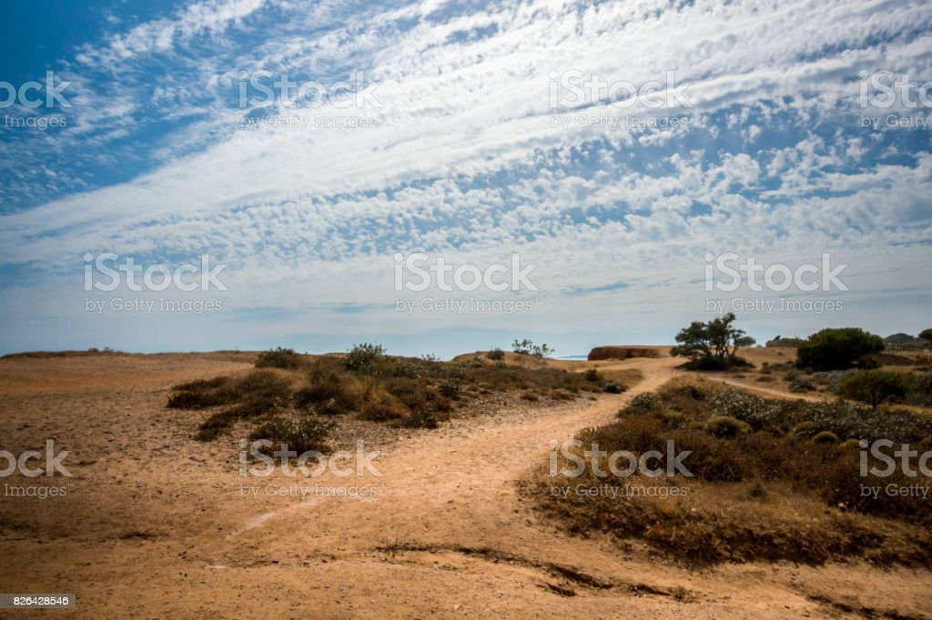 Landscape view with walking trail in Portugal Algarve. royalty-free stock photo
