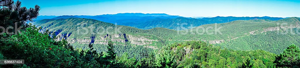landscape views on top of table rock mountain nc stock photo