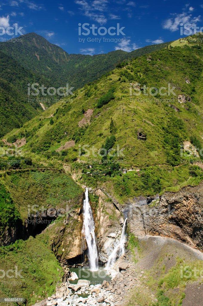 Landscape Waterfall Banos stock photo