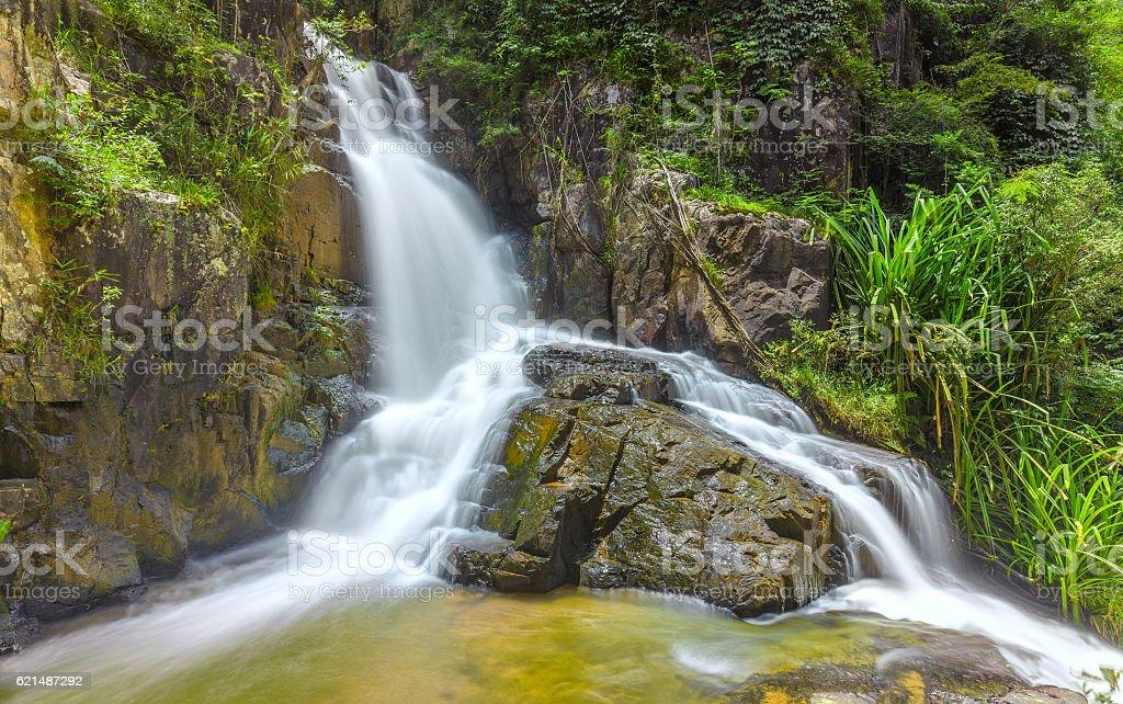 Landscape waterfall flowing into soft silk sheet Lizenzfreies stock-foto
