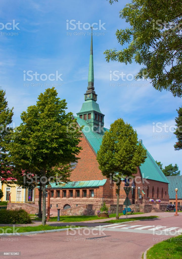 landscape with a church stock photo
