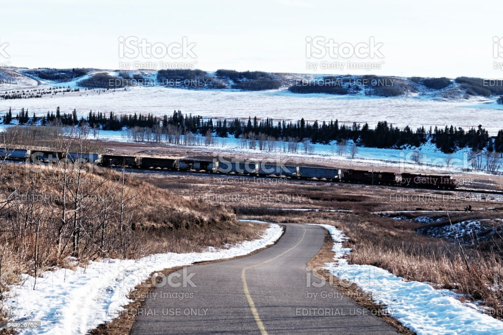 Landscape with a freight train of the CPR, the Canadian Pacific Railway, passing along the Bow River ,through the Glenbow Ranch Provincial Park , located between the city of Calgary and the town of Cochrane in Alberta,Canada stock photo