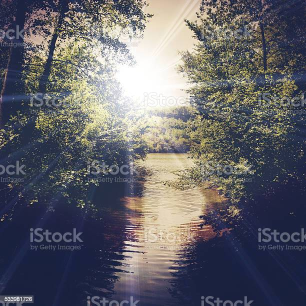 Photo of landscape with a mountain stream
