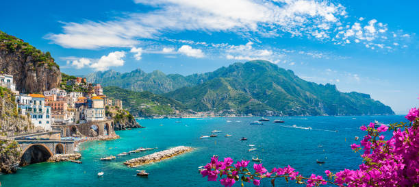Landscape with Amalfi coast Landscape with Atrani town at famous Amalfi coast, Italy mediterranean sea stock pictures, royalty-free photos & images
