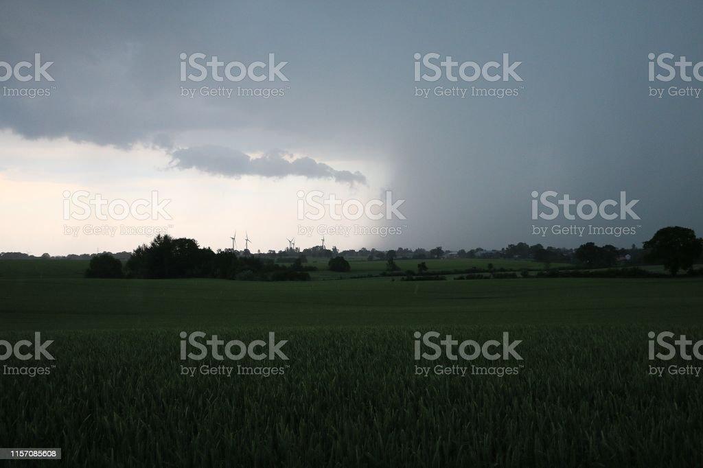 dark sky over a corn field