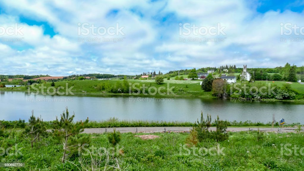 Landscape with bay in Prince Edward Island stock photo
