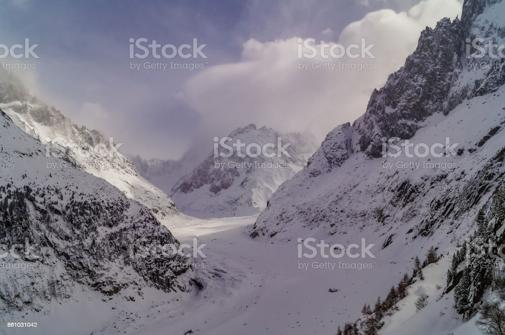 Landscape with  beautiful Alps mountains and Blanche Valley, Chamonix, Mont Blanc, France stock photo