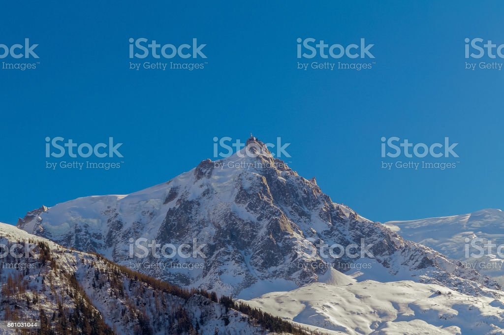 Landscape with  beautiful Alps mountains in Chamonix,  Mont Blanc, France stock photo