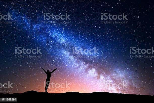 Photo of Landscape with blue Milky Way and silhouette of a girl