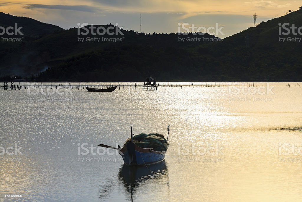 Landscape with boat royalty-free stock photo
