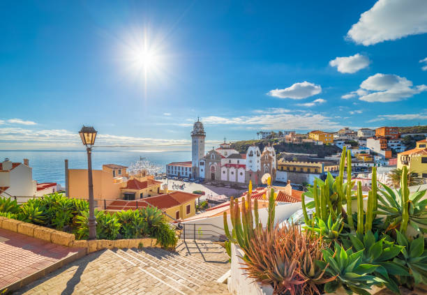Landscape with Candelaria,Tenerife Landscape with Candelaria town on Tenerife, Canary Islands, Spain spain stock pictures, royalty-free photos & images