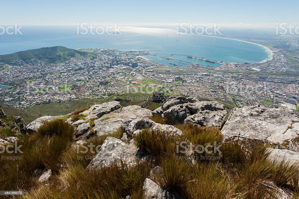 landscape with cape town cityscape and ocean, south africa stock photo