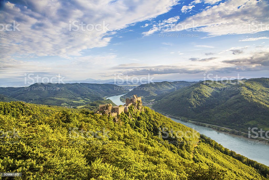 Landscape with castle ruin and Danube river in Wachau, Austria stock photo