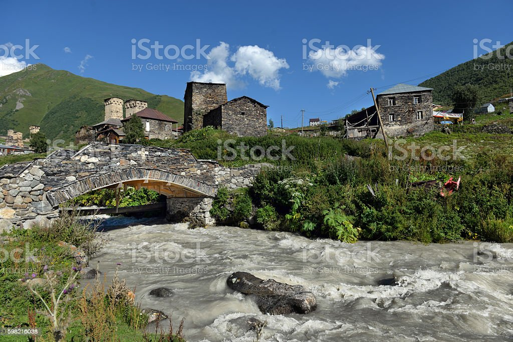 landscape with Caucasus Shkhara mountain in the upper Svaneti region foto royalty-free