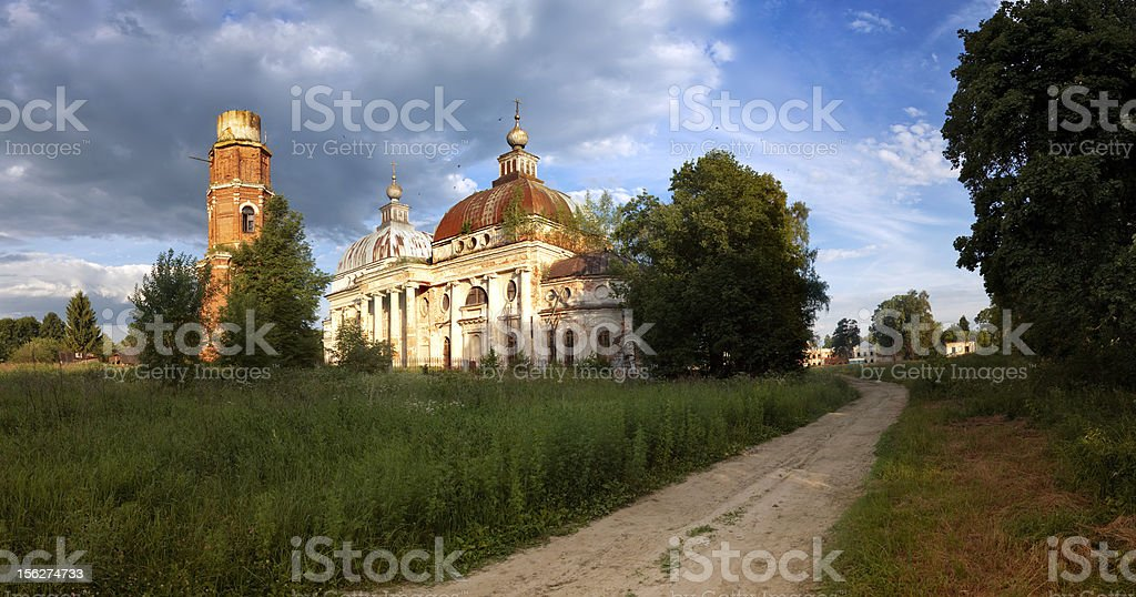 Landscape with Church and Bell Tower. Panoramic View royalty-free stock photo