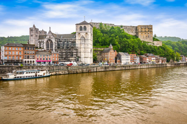 Landscape with citadel and fort of Huy, Belgium. Bright and colorful image with citadel of Huy along the Meuse river. A fortress located in the Walloon city of Huy in the province of Liège, Belgian Ardennes, Belgium. lulik stock pictures, royalty-free photos & images