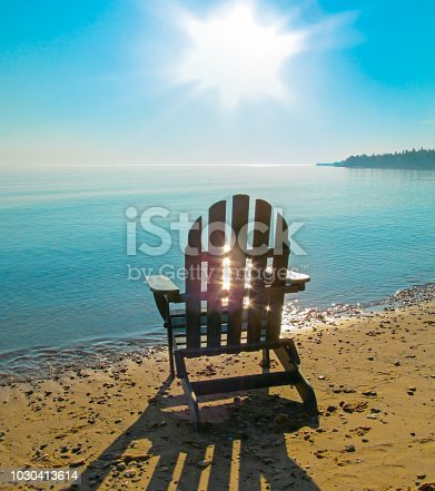Beautiful morning view of Lake Huron, the Great Lakes region, USA.