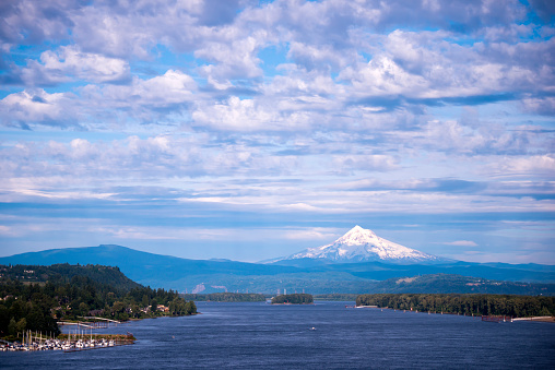 Landscape with Columbia river and Mount Hood